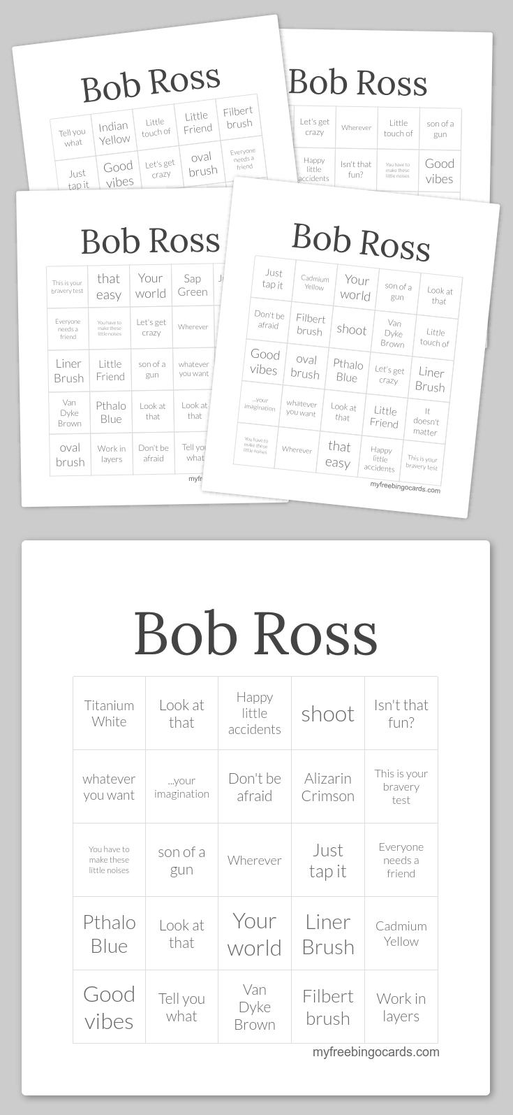 Bob Ross Bingo Bingo Cards Printable Free Printable Bingo Cards Bingo Cards
