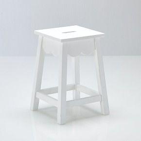 Tabouret, pin massif authentic style blanc - la...   Déco studio ...