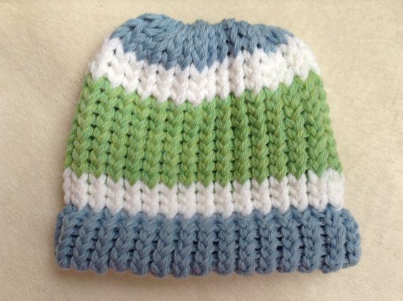 Baby Boy Blue White and Green Knit Hat by ThatsSewAudrey on Etsy