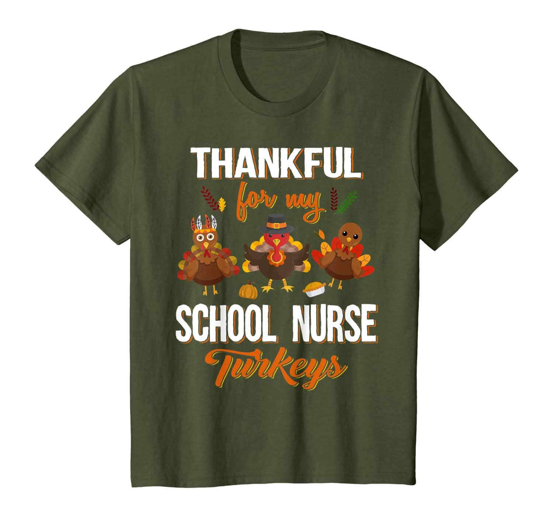 Thankful Turkey School Nurse Teacher Thanksgiving Gift T-Shirt