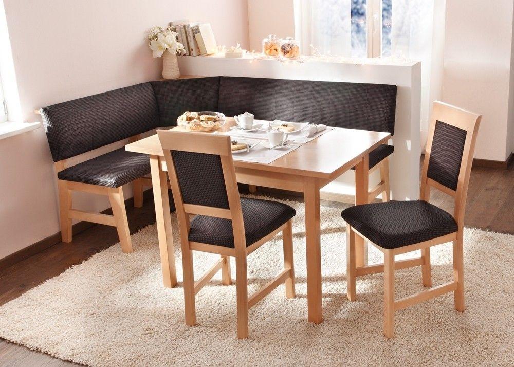 Eckbankgruppe Salzburg 133x172 Tischgruppe Holz Buche mit Braun - eckbänke für küchen