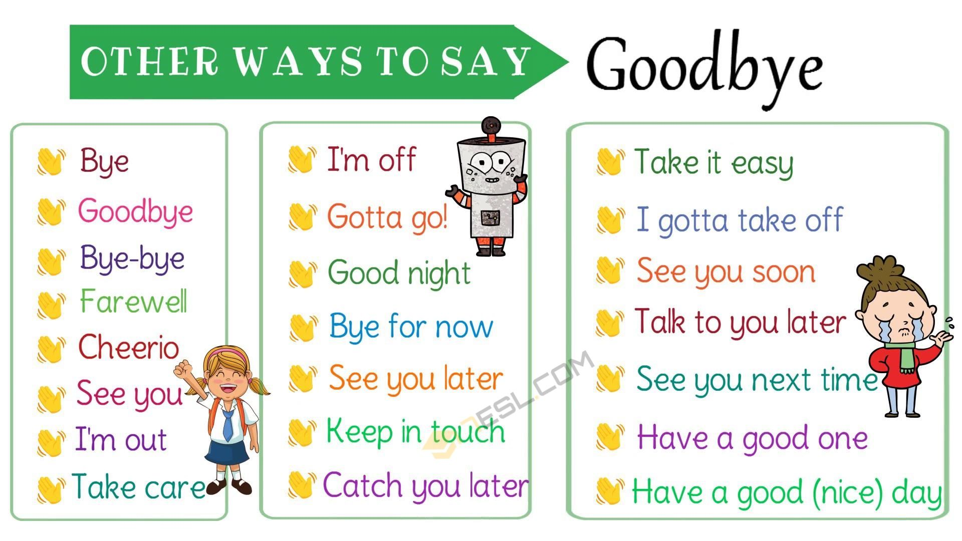 23 ways to say goodbye in english other ways to say