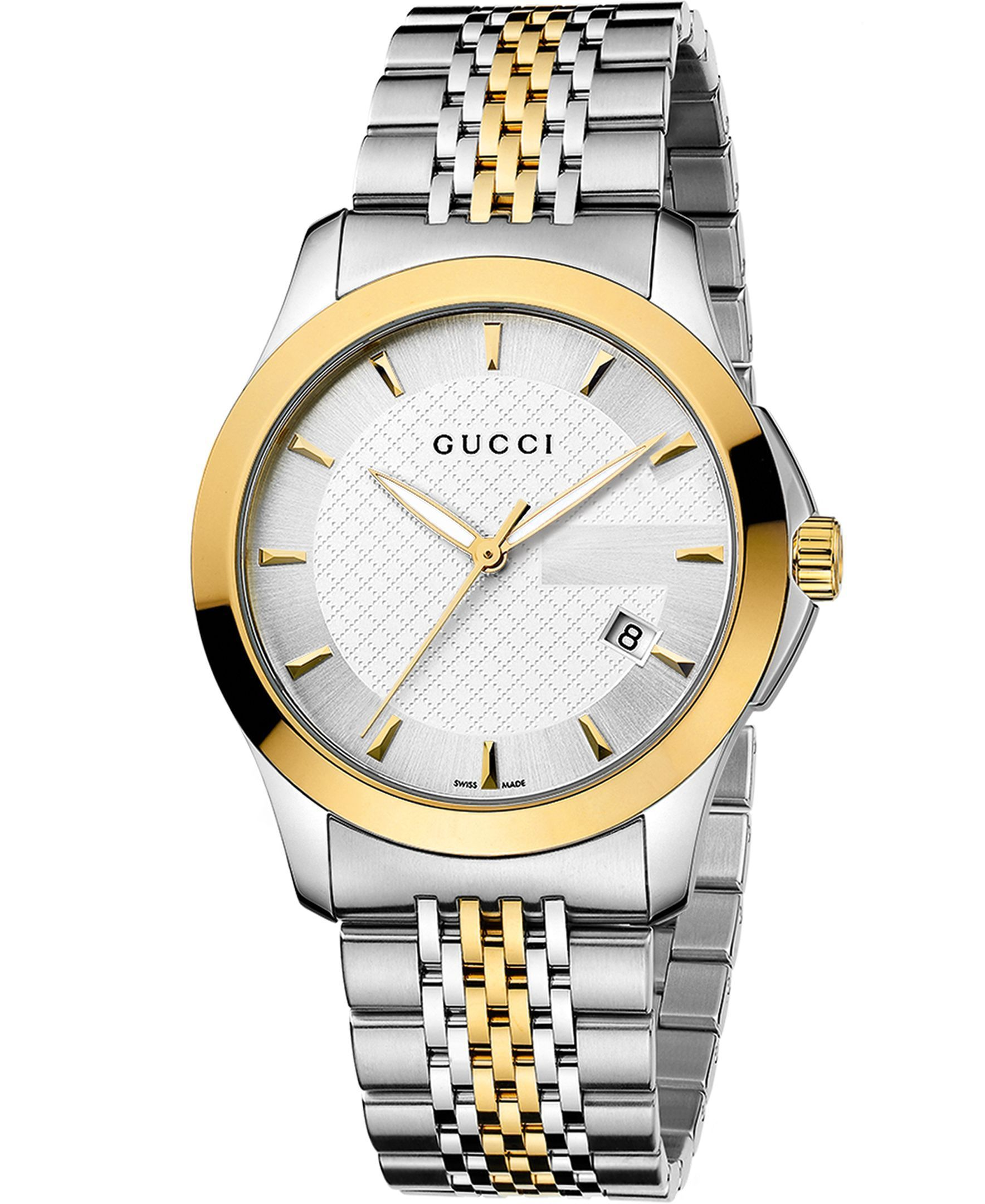 94bce902aeb Gucci Twirl Gold Dial Ladies Two Tone Bangle Watch YA112444