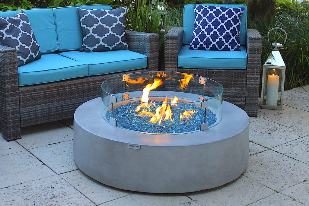 42 round outdoor propane gas fire pit table in gray gas