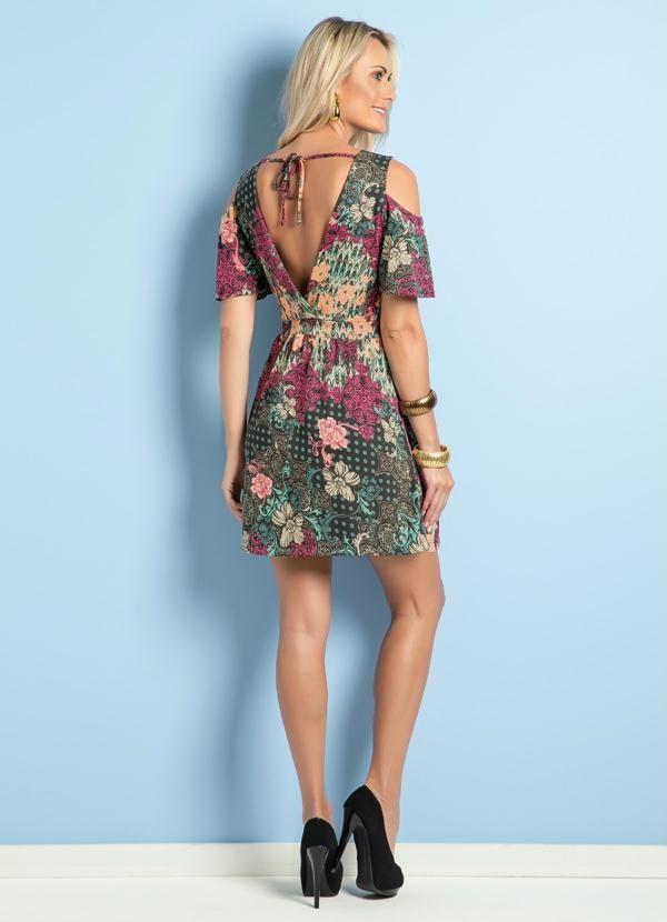 0e31d6577 Vestido Ciganinha com Amarração Poá e Floral - Posthaus
