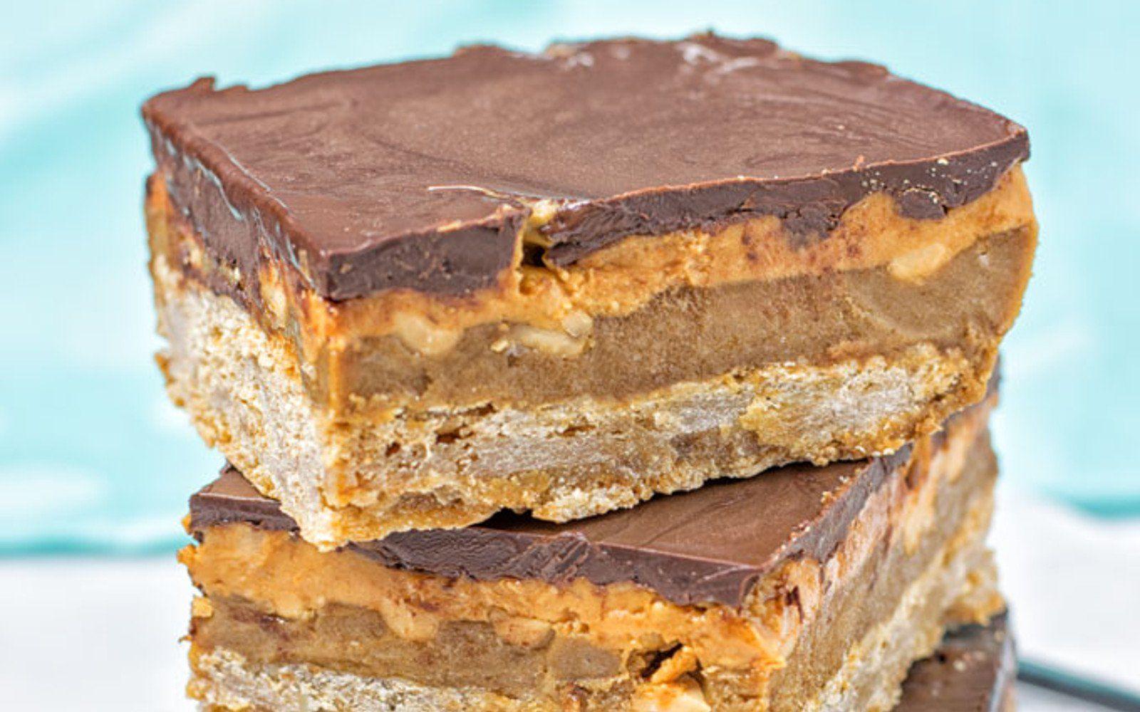 Snickers Shortbread Bars [Vegan, GlutenFree] Vegan
