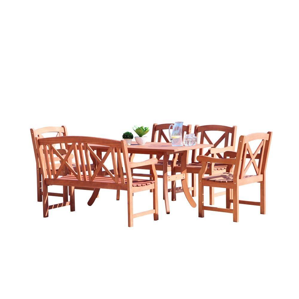 Vifah Malibu 6 Piece Wood Rectangle Outdoor Dining Set Outdoor Dining Outdoor Dining Set Wood Patio Furniture