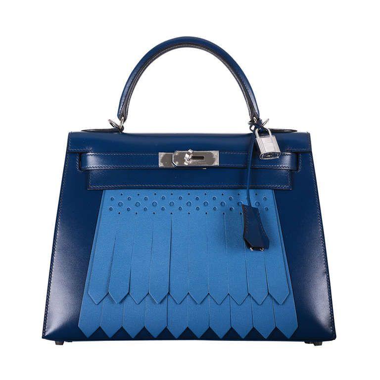 032177247ea3 HERMES KELLY 28cm GOLF KELLY   BOX LEATHER   BLUE DE PRUSSE   BLEU DE  GALICE
