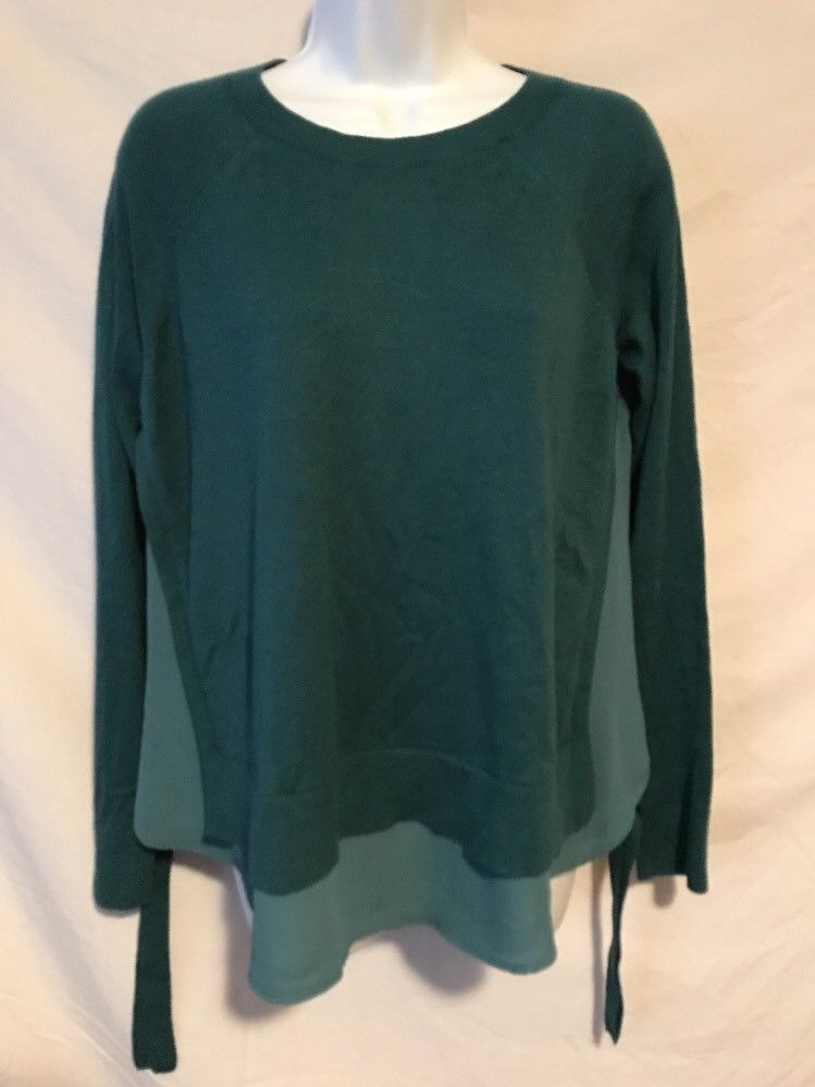 1345e51641 Ann Taylor LOFT Women Medium Dark Teal Green Sweater Front Sheer Back Trim