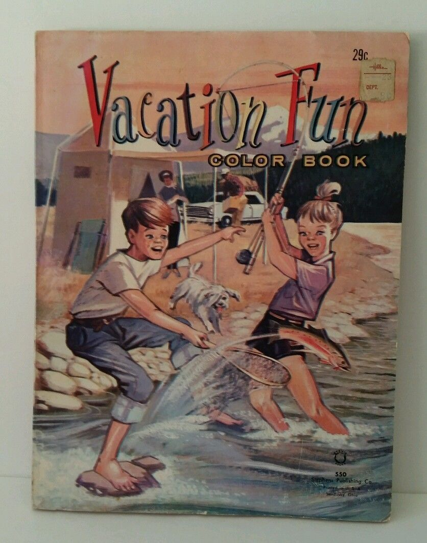 Vintage 1968 Vacation Fun Coloring Book Never Used Rare Find Cool Graphics