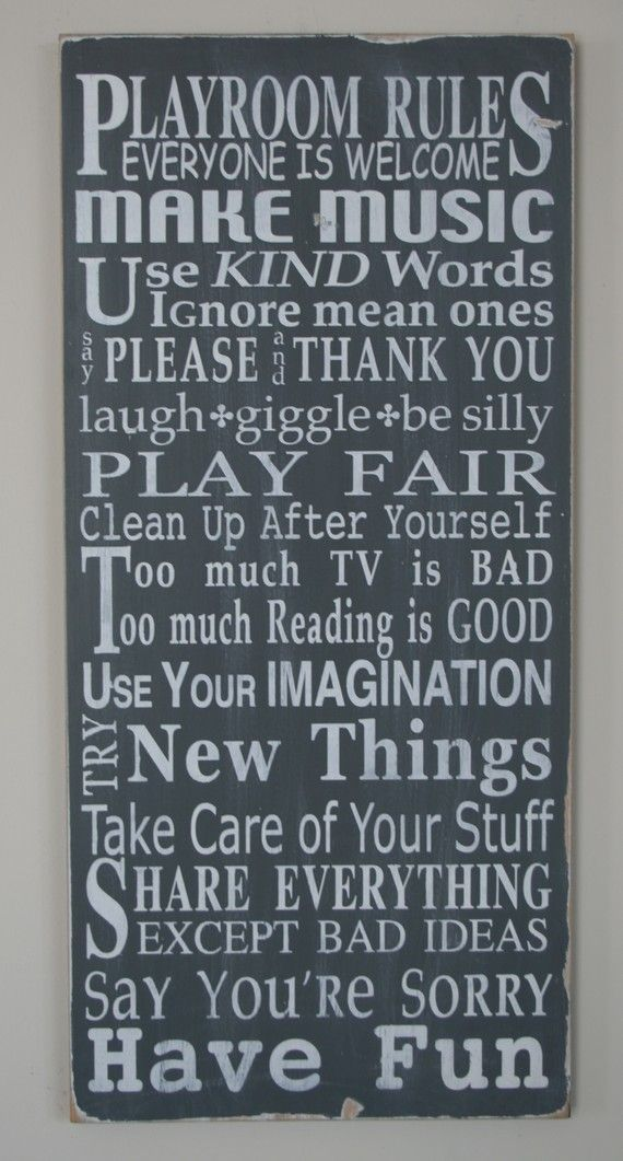 Playroom Rules LOVE THIS