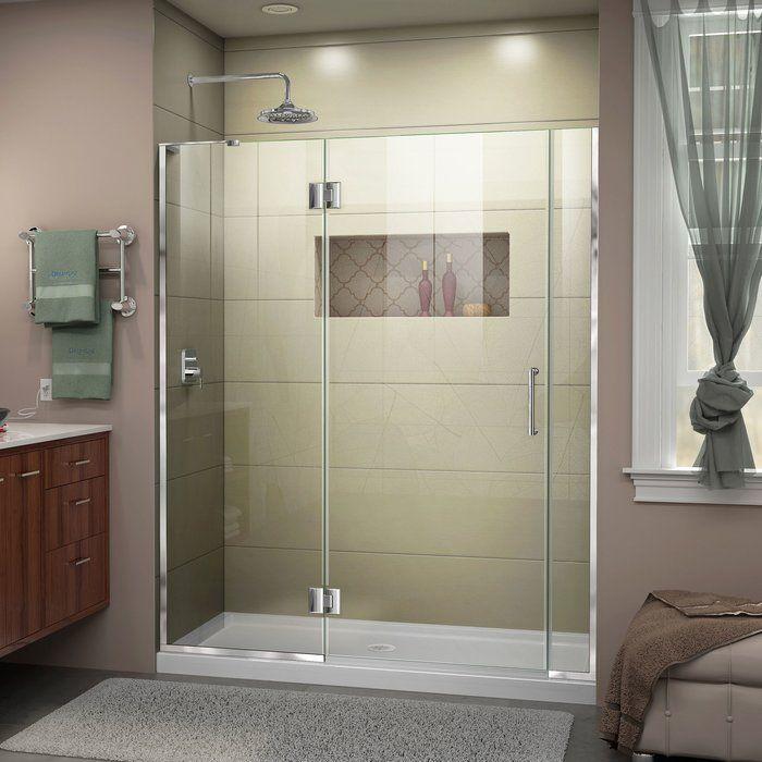 Unidoor X 55 W X 72 H Hinged Frameless Shower Door With Clearmax