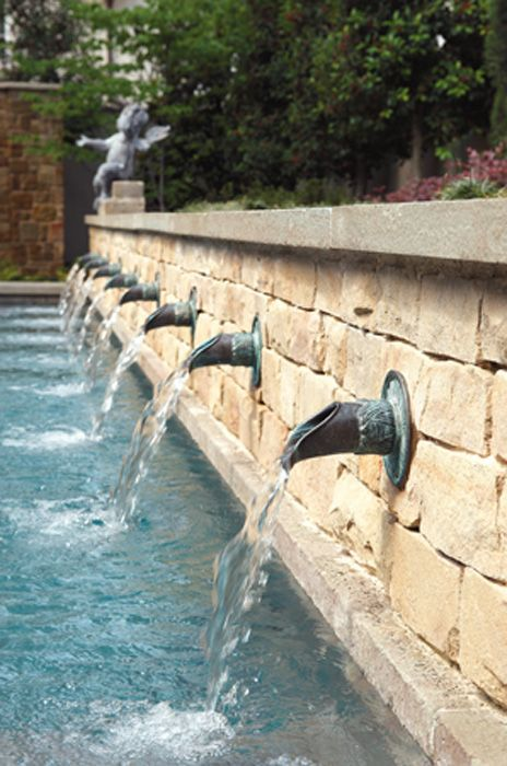 Copper Scuppers Pool Water Features Backyard Water Feature