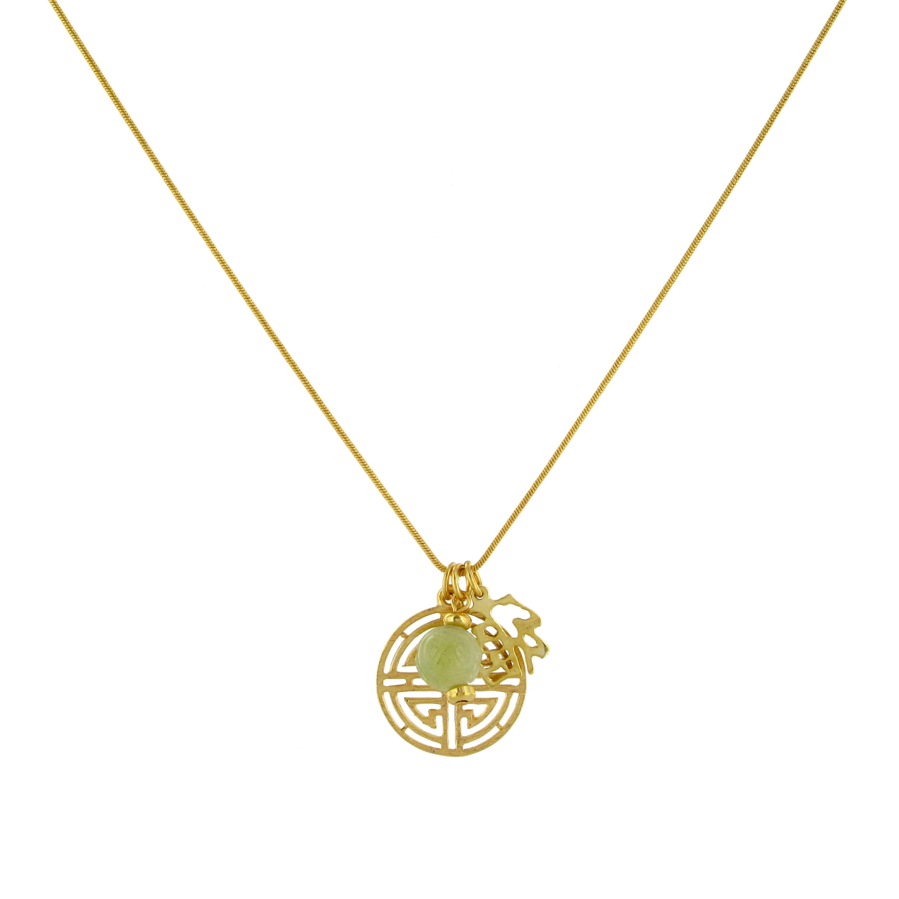 Shou symbol necklace chinese symbols symbols and gold a gold plate necklace featuring the chinese symbol for longevity called shou 35 buycottarizona