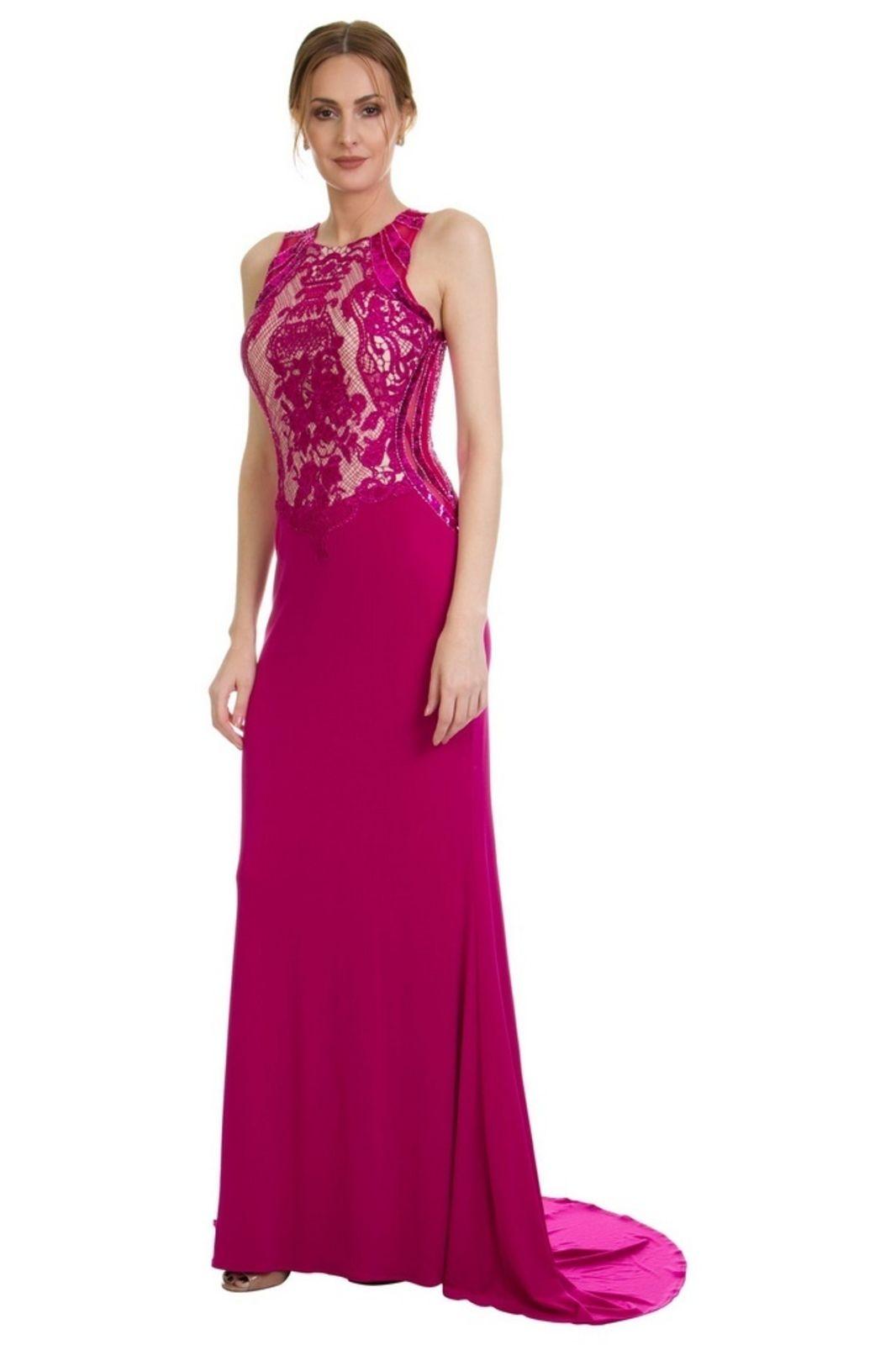 983f097bb0 Vestido Izad longo busto em renda bordada Pink