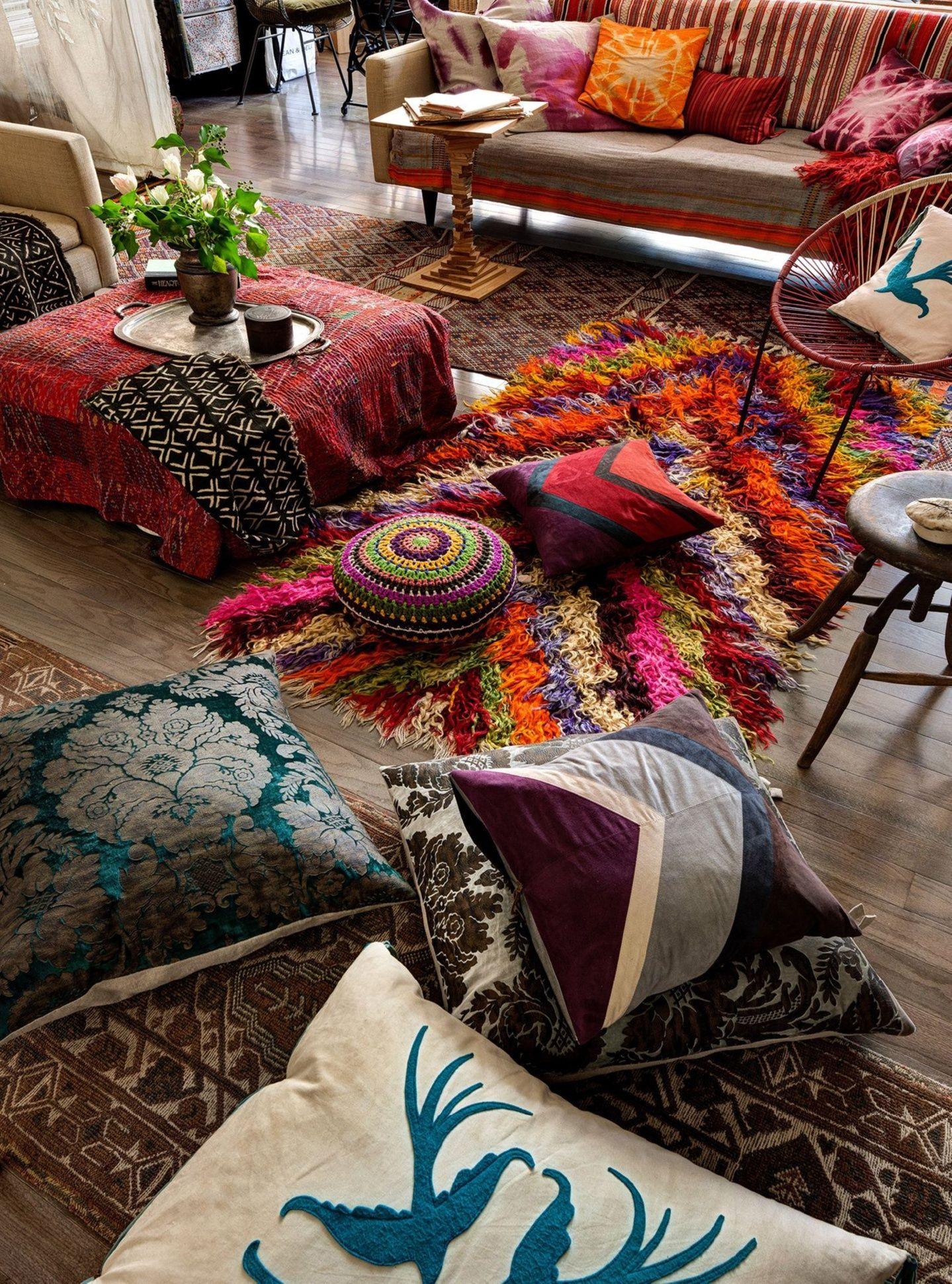 Large Moroccan Floor Cushions Michele Varian And Brad Roberts S Fourth Floor Soho Loft See Th Bohemian Living Room Decor Bohemian Style Decor Bohemian Decor