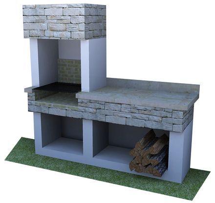 Resultado de imagen para asadores de ladrillo con chimenea for Asadores de carne para jardin de ladrillo