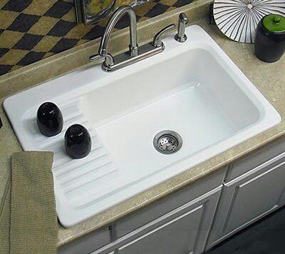 37 Drop In Farmhouse Sink W Builtin Drainboard Drainboard Sink Drop In Kitchen Sink Single Bowl Kitchen Sink