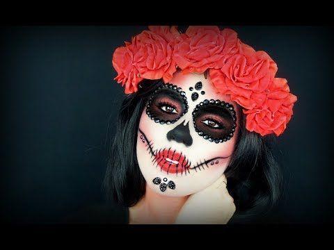 Dia De Los Muertos Sugar Skull Tutorial Diamond Sugar Skull Red Sugar Skull Easy Sugar S Sugar Skull Makeup Tutorial Skull Makeup Tutorial Skull Makeup