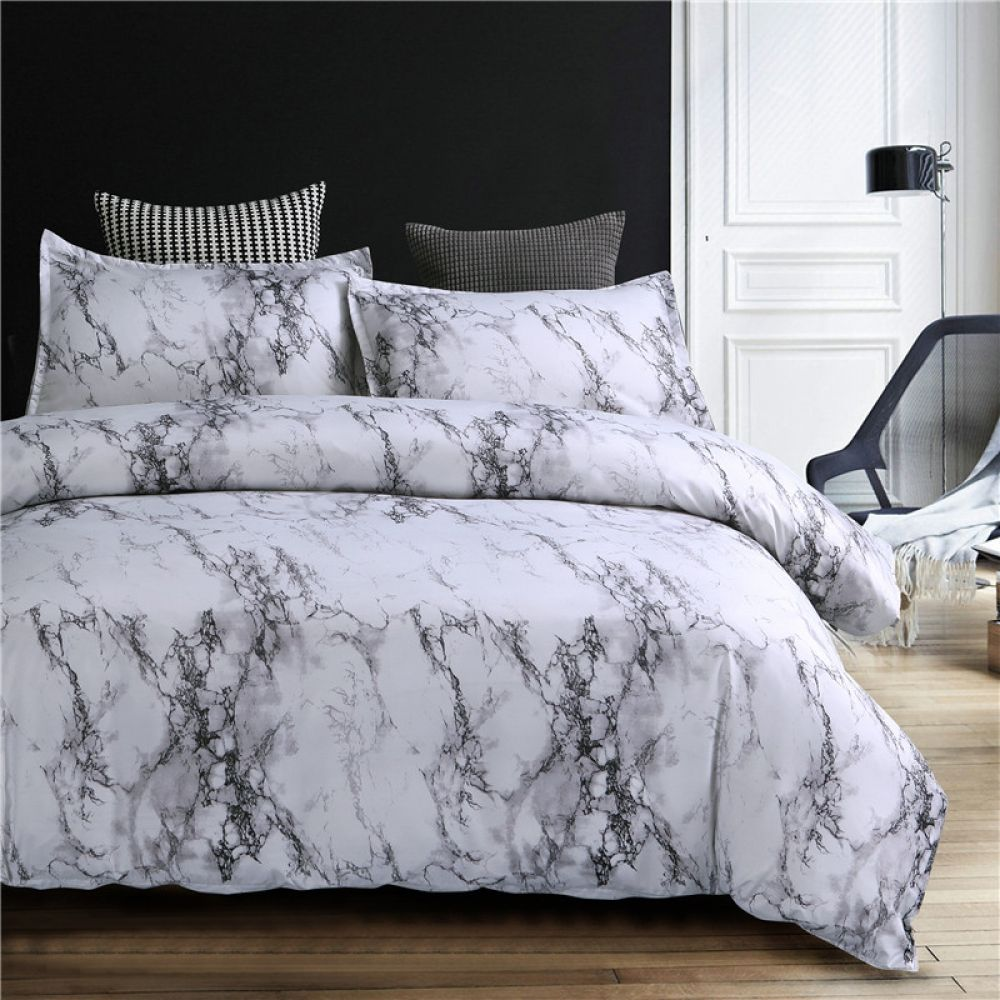 Marble Pattern Bedding Set Bed Comforter Sets Marble Duvet Cover Bed Linens Luxury