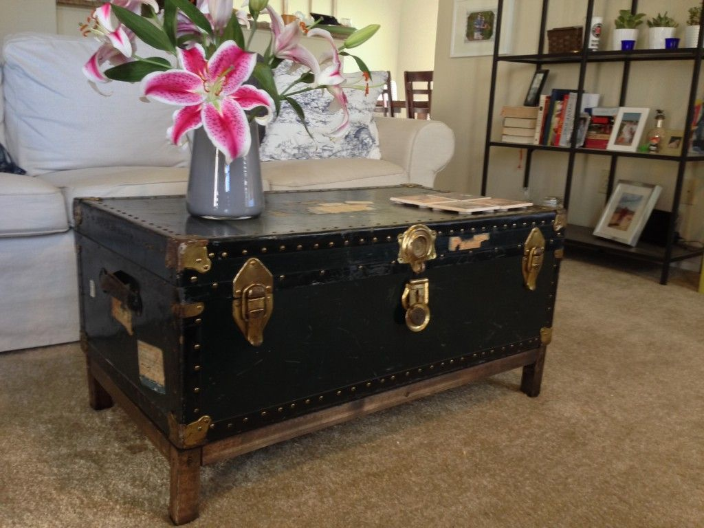 DIY Coffee Table from Antique Steamer Trunk; I like the clean, simpleness  of the - DIY Coffee Table From Antique Steamer Trunk; I Like The Clean