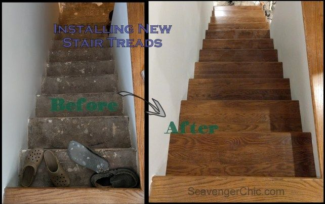 Best Weekend Project Installing New Stair Treads Hardwood 400 x 300