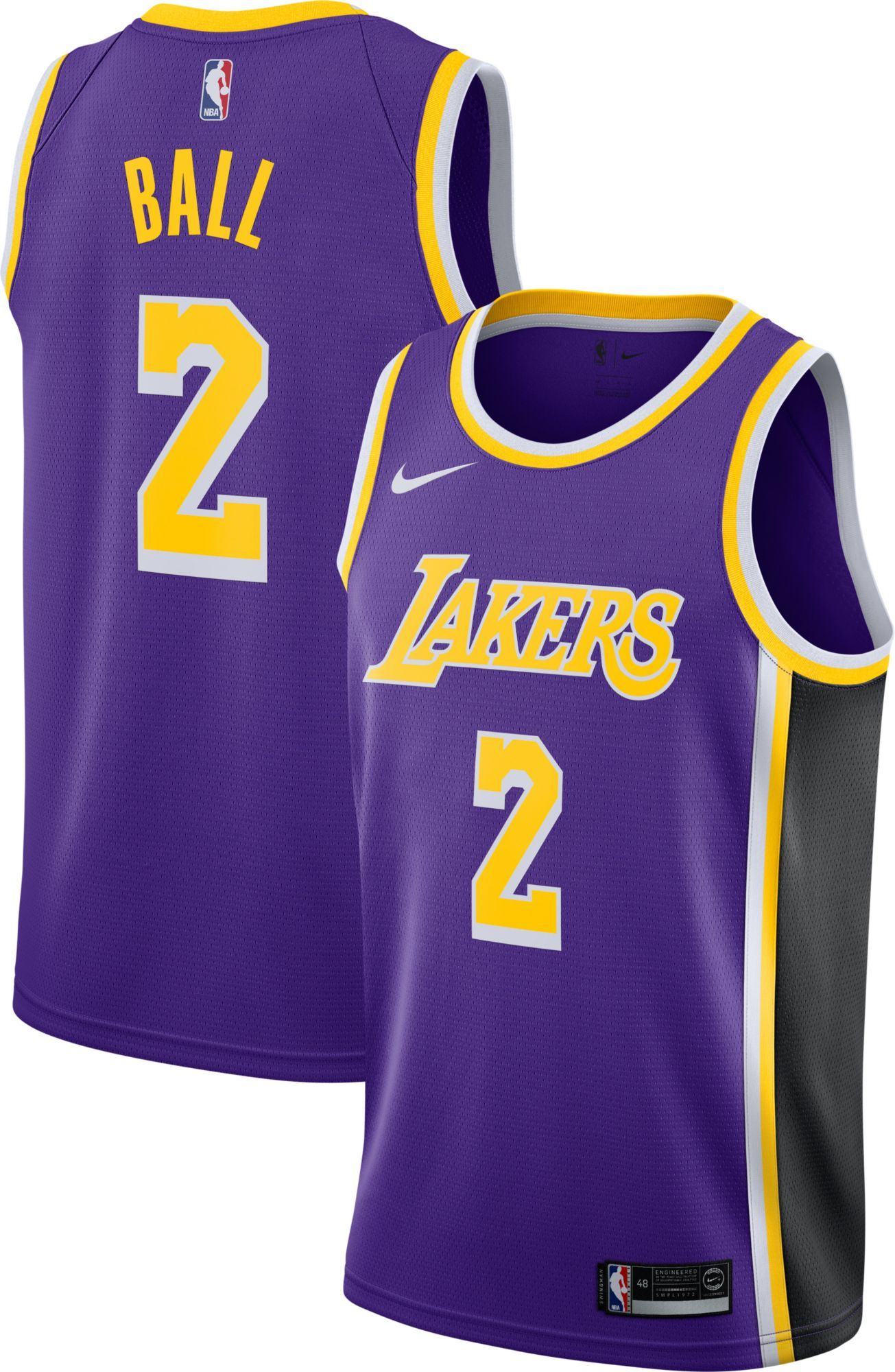 a857b3d2067 Nike Youth Los Angeles Lakers Lonzo Ball #2 Purple Statement Dri-FIT Swingman  Jersey, Team