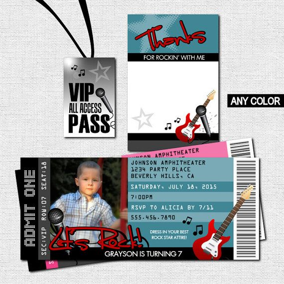 CONCERT TICKET INVITATIONS Rock Star Birthday Party BONUS Thank – Concert Ticket Birthday Invitations