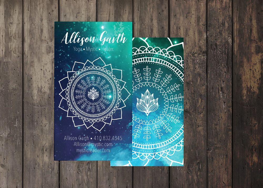 Spiritual Business Card, sacred geometry, template, lotus, healer ...