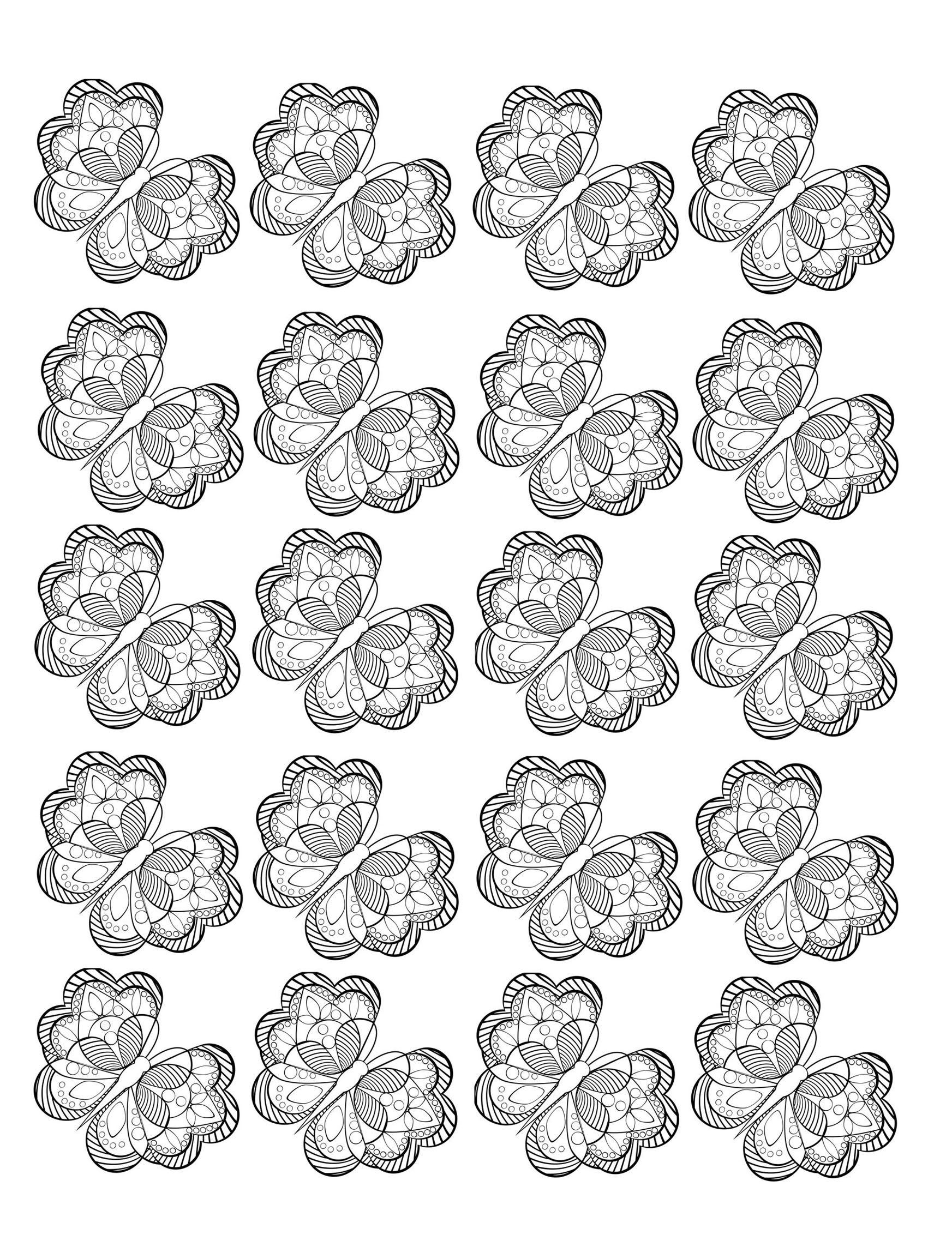 Free Coloring Page Adult Butterfly Composed Of A Repeated Pattern Pretty In Black And White With Very Small