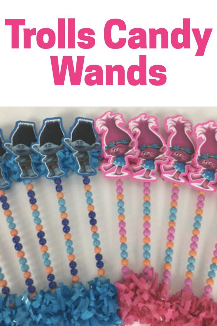 Trolls candy wands. These are a fun party favor treat idea for a Trolls birthday party. #trolls #trollsparty #partyfavors #partyfood #etsy #ad