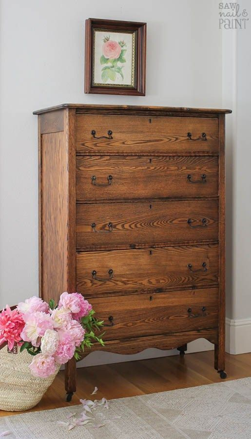 Antique Oak Chest of Drawers As Found - Saw Nail and Paint