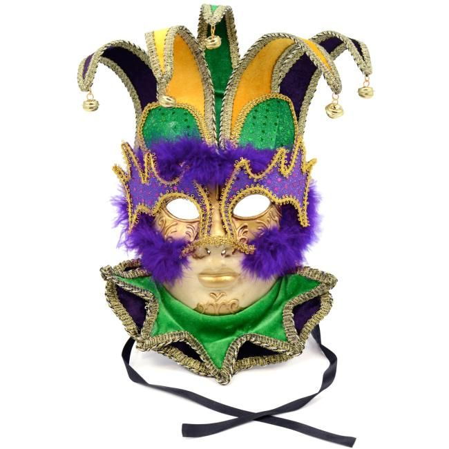 Purple and Green Paper Venetian Mardi Gras Mask with Beautiful Feathers