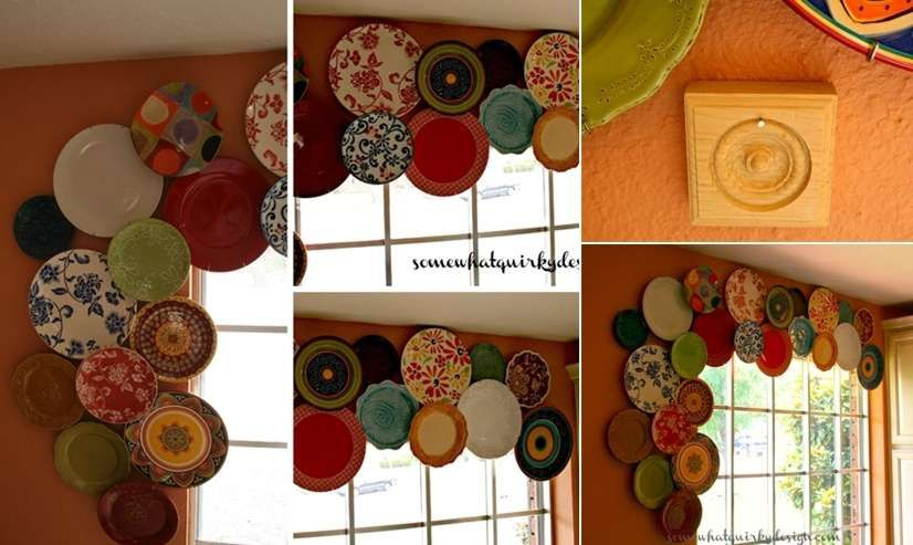 Awesome Plate Pedestals Mitzi Curi at Mitzi's Collectibles created these beautiful plate pedestals from plates she discovered at flea market. A Window Valance Karen via Somewhat Quirky Design shares a picture of a wonderful window valance created from plates. That's just so clever! A Plate Mosaic Chair Image via: Lab Household A Wall Art Anna at