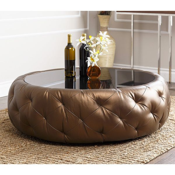 ABBYSON LIVING Havana Golden Brown Leather Round Coffee Table