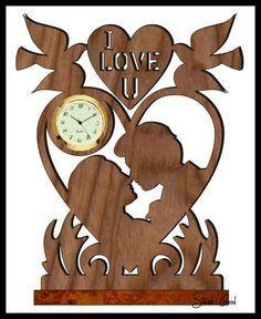 Lovers Mini Clock Scroll Saw Pattern.