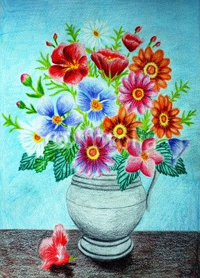 Colored Pencil Flower Vase Drawing Flower Vase Drawing Flower