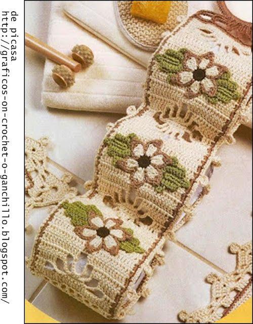 Crochet ganchillo patrones graficos juego para el for Visillos para banos