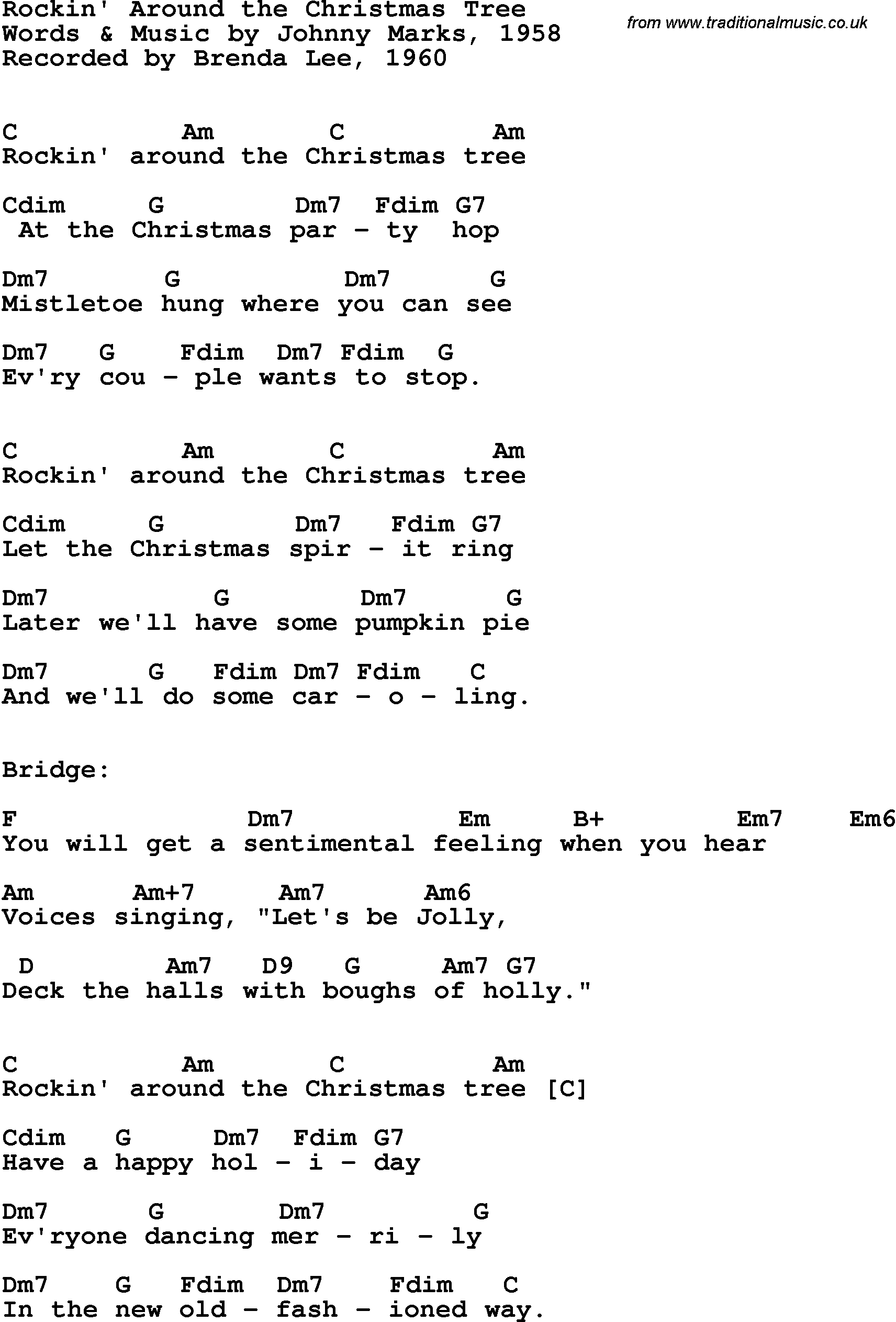 guitar chords for Rockin Around The Christmas Tree Brenda Lee 1960 ...