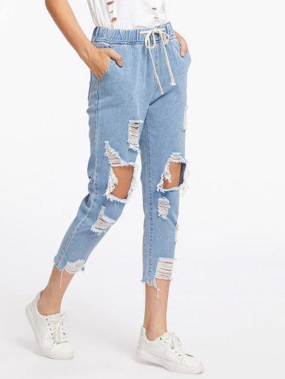 6466cdc593 Destroyed Raw Hem Drawstring Waist Crop Jeans | Fashion | Cropped ...