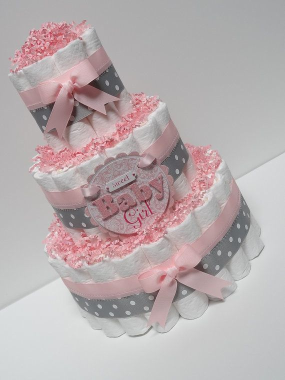 Baby girl pink and gray diaper cake baby shower for Pink diaper bouquet