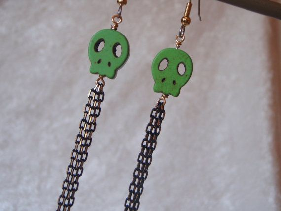 Chartreuse Lime Green Skulls with Super Long by MountainSkyJewelry, $19.00