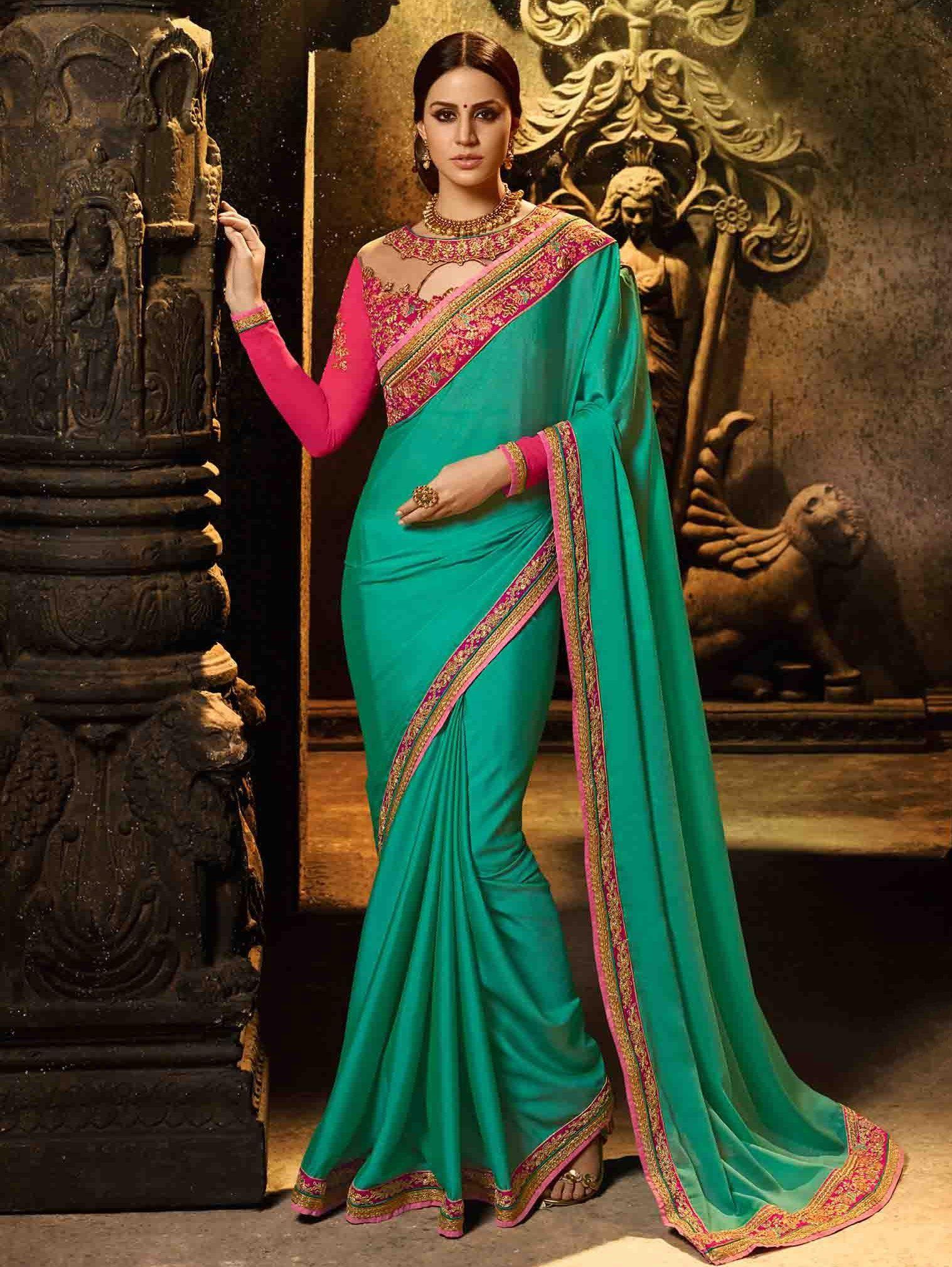 07d588a06f6da8 Buy Firozi Green Silk Saree with Zari - SAAF9481   Elegant saree ...