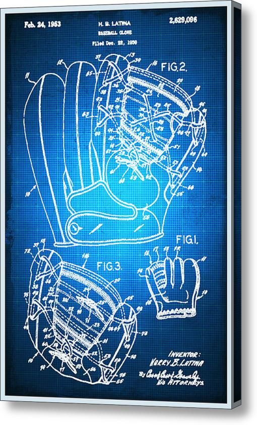 Glove Patent Blueprint Drawing Canvas Print   Canvas Art by Tony Rubino - copy blueprint paper free