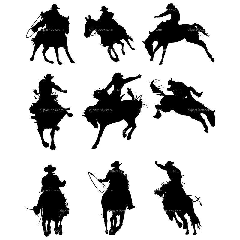 RODIO Clip Art   CLIPART COWBOYS RODEO   Royalty free vector design