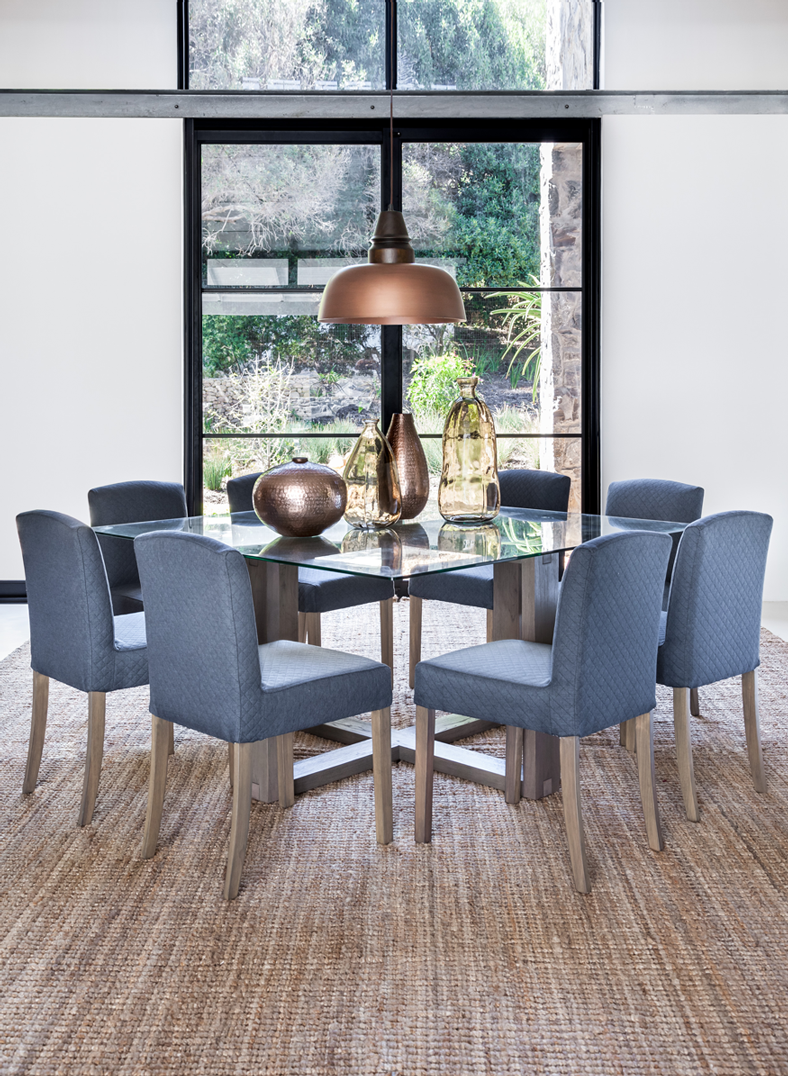 Cooper Glass Dining Table Samuel Quilted Fabric Dining Chairs Classic Con Contemporary Dining Room Sets Modern Rectangle Dining Room Modern Dining Room Set