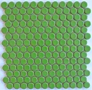 Moddotz Lime Green Key Porcelain Penny Round Tile For Bathroom Kitchen Backsplash And