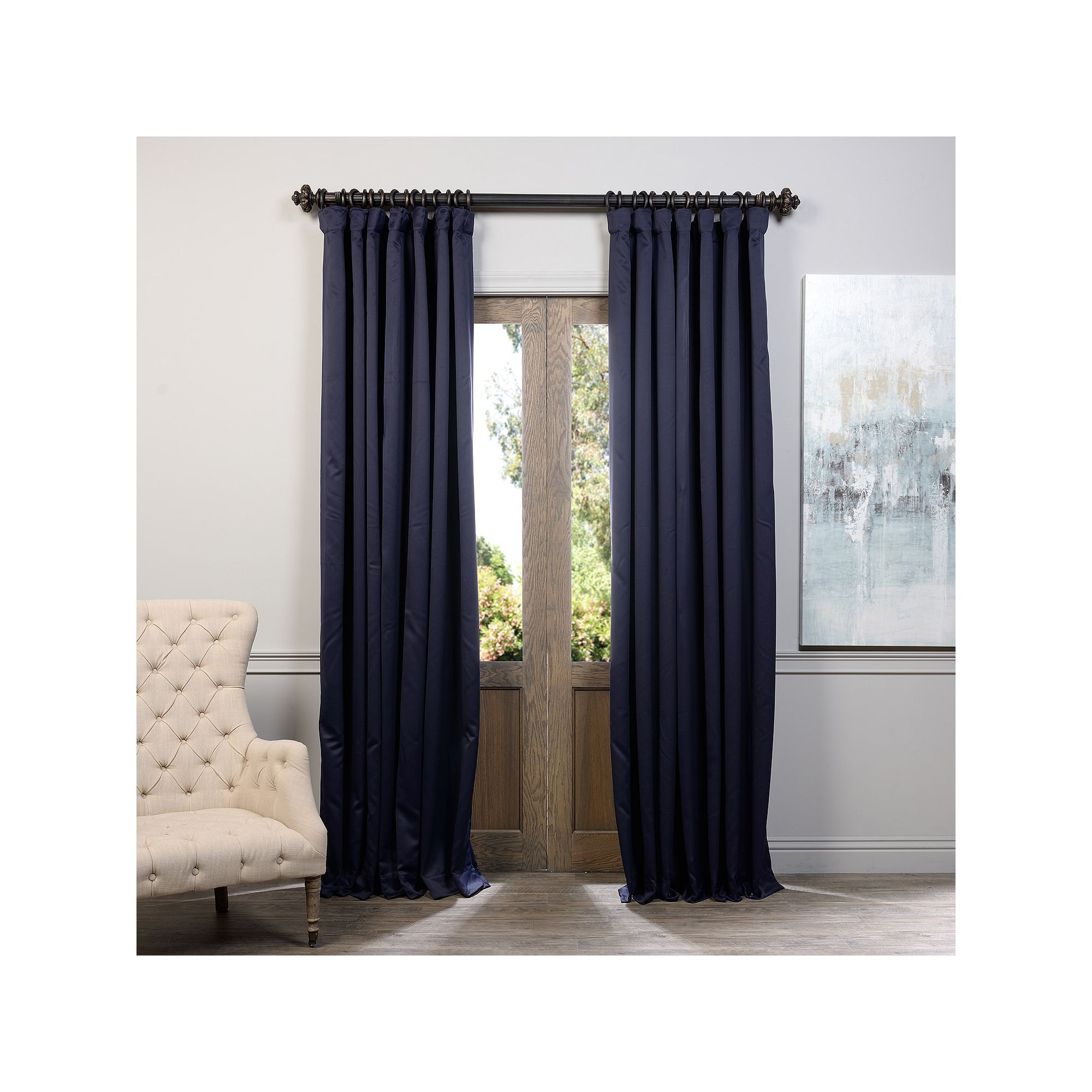 Eff Eclipse Patio Sized Double Wide Blackout Curtain Blue