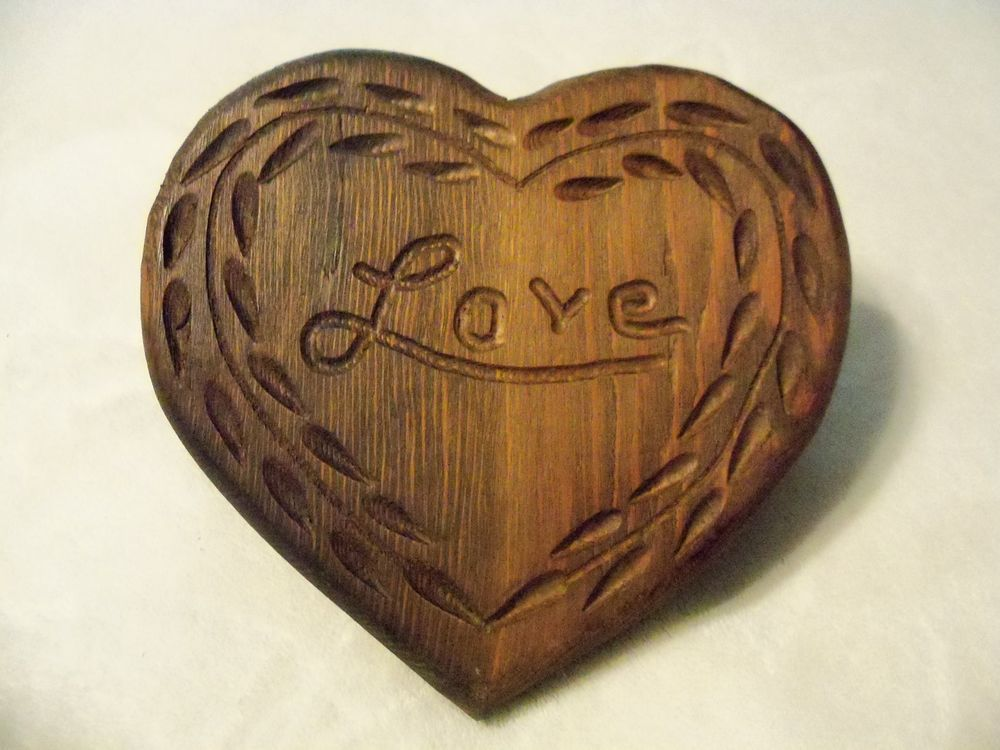 One Of A Kind Hand Carved Wooden Heart Plaque Love Handmade Rusticprimitive Wooden Hearts Carving Hand Carved