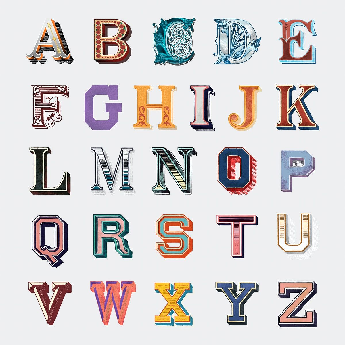 A Z Alphabet Vector Vintage Fonts Bold Typography Free Image By Rawpixel Com In 2020 Bold Typography Vector Free Vintage Fonts